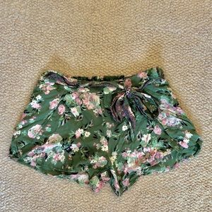 Blue Rain Floral Shorts